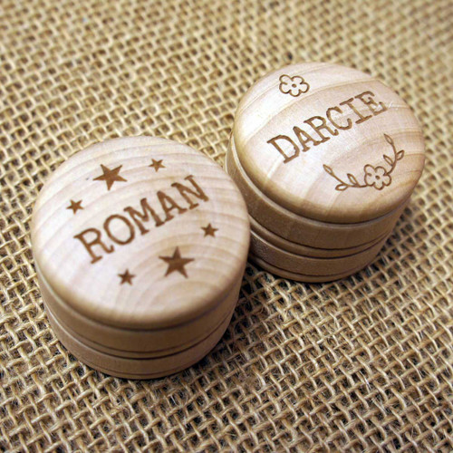 Wooden Wedding Favours - personalised wooden boxes ideal for place settings