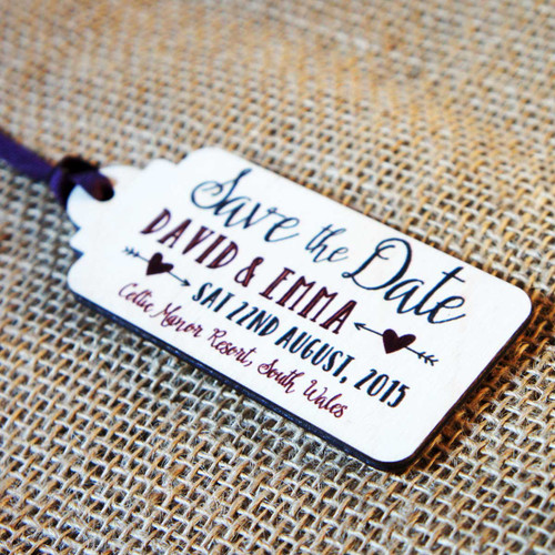 Printed Wooden Save the Date Tags
