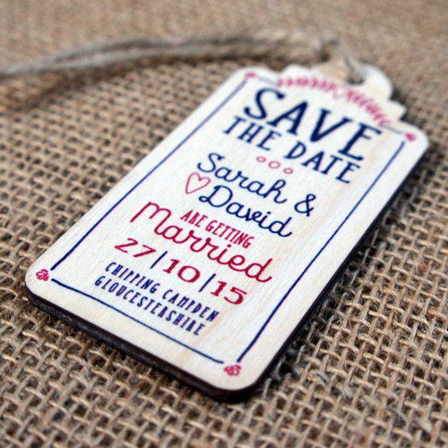"""Printed wooden """"Save the Date"""" Magnet"""