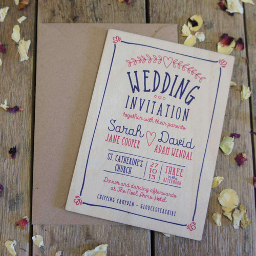 Printed Wooden wedding invitation