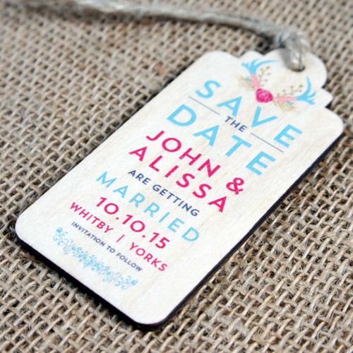 """Printed wooden """"Save the Date"""" tag with twine"""