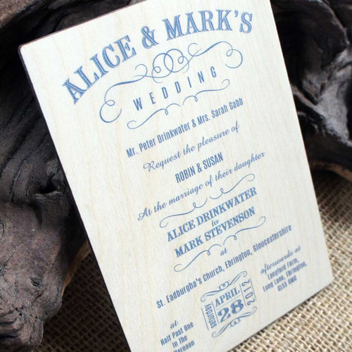 Printed Wooden Wedding Invitation - Vintage Swish