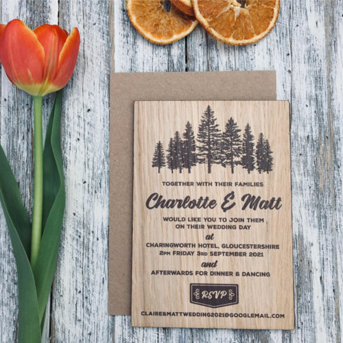 Printed Wooden Wedding Invitations - showing a group of rustic trees