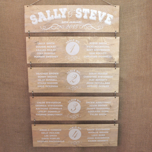 Wooden Wedding Table Plan - made from wooden slats (light oak coloured stain)