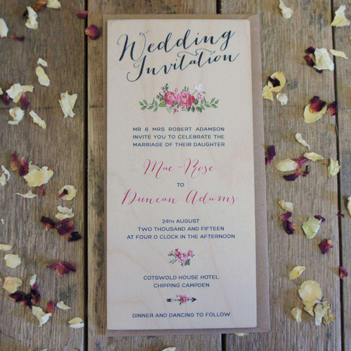 Wooden Printed Wedding Invitation - DL size