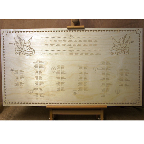 Engraved Wooden Wedding Table Plan (Swallows)