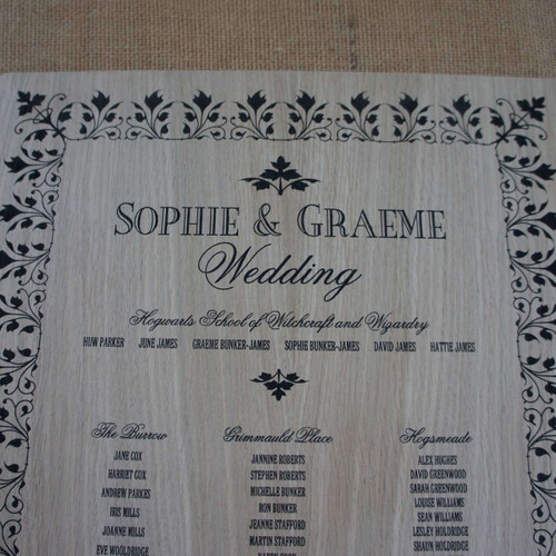 Engraved Wooden Wedding Table Plan - Leaf Border