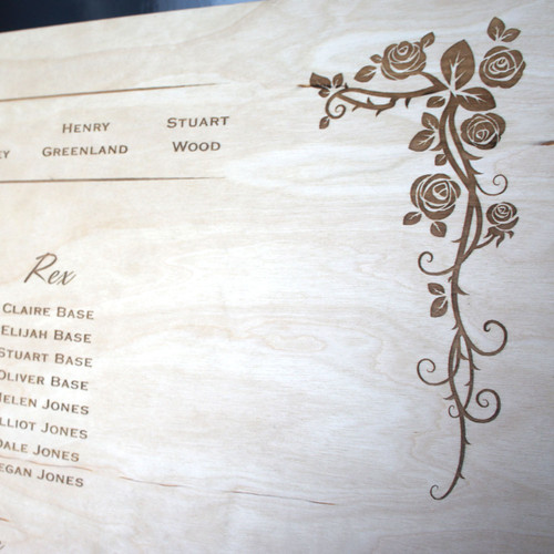 Engraved Wooden Wedding Table Plan - Wild Rose (Square Top)