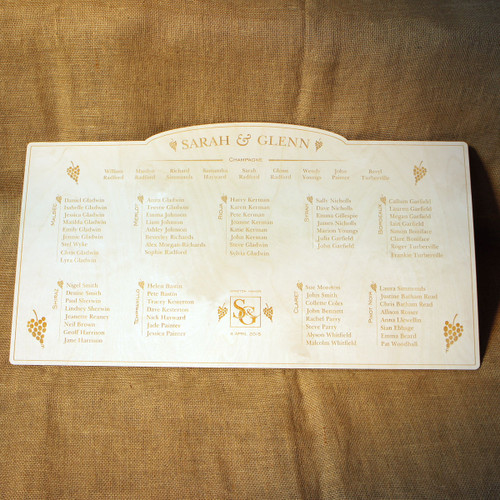 Engraved Wooden Wedding Table Plan - Wine & Grapes
