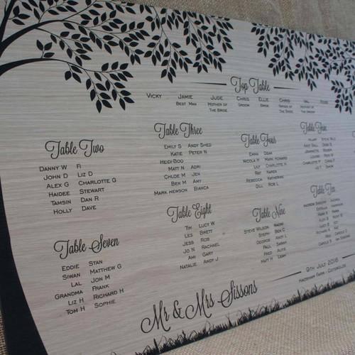 Engraved Wooden Wedding Table Plan - Trees.  Artwork engraved into oak veneered wood.