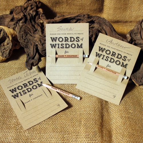 """Wooden Wedding Pencil and """"Words of Wisdom"""" Kraft place setting backing card.  The 3 in 1 wedding favour."""