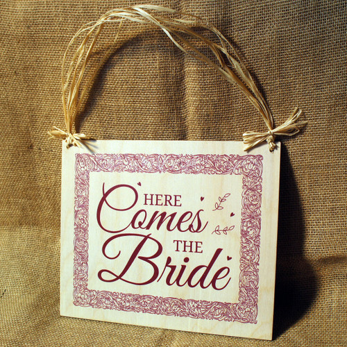"Wooden Wedding Signs - ""Here Comes the Bride"""