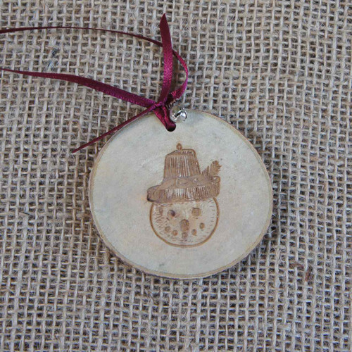 Rustic Wood Slice Christmas Decoration - Snowman in Hat