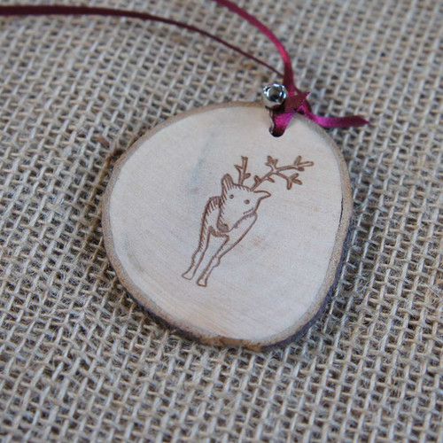 Rustic Wood Slice Christmas Decoration - Reindeer with broken antler