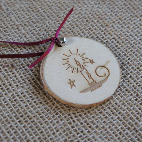 Rustic Wood Slice Christmas Decoration - Engraved Candle