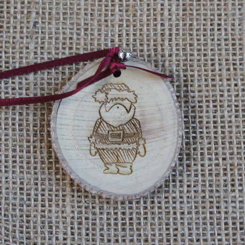 Rustic Wood Slice Christmas Decoration - Bemused Santa