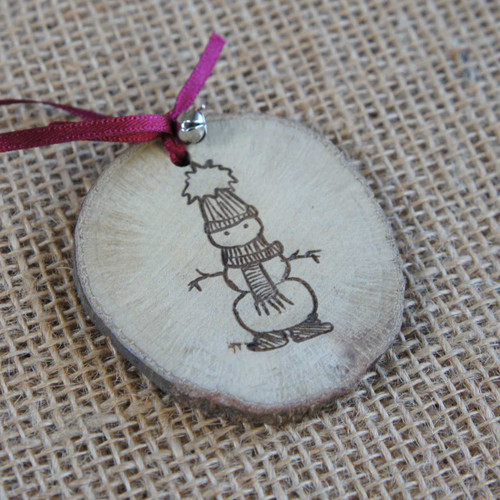 Rustic Wood Slice Christmas Decoration - Snowman