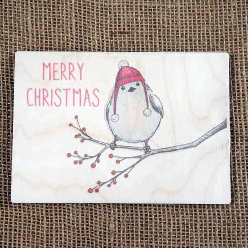 Wooden Printed Postcard - Christmas Robin Design