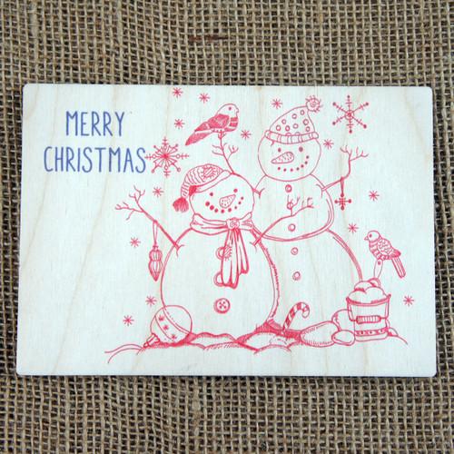Wooden Printed Postcard - Snowman & Woman
