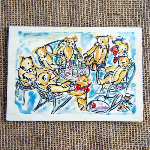 Printed Wooden Postcard - Teddies Tea Party