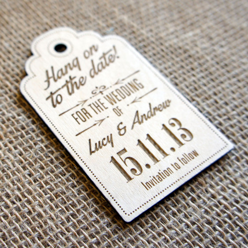 Wooden Save the Date Magnet Luggage Tag 03