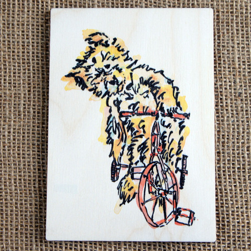 Printed Wooden Postcard - Teddy on a Bicycle