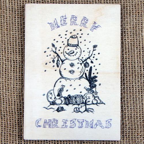 Wooden Printed Postcard - Snowman