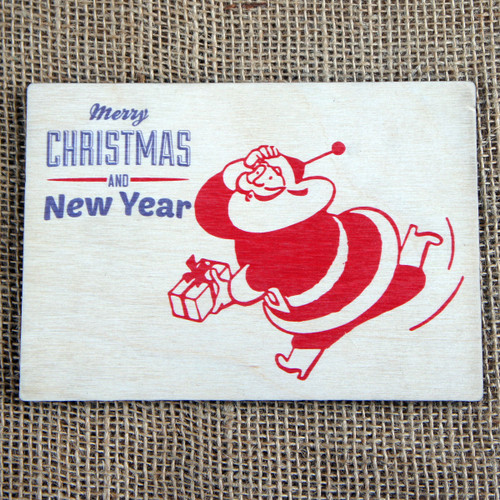 Wooden Printed Postcard - Retro Santa