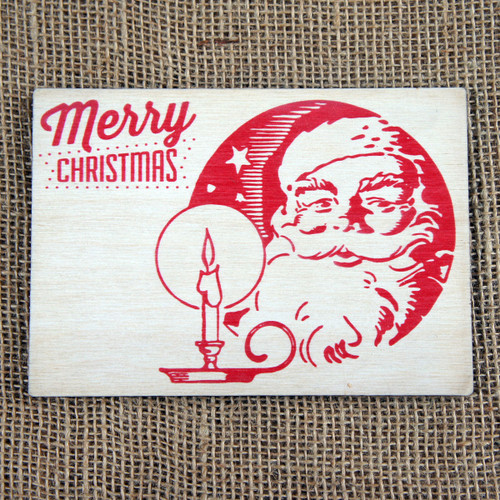Wooden Printed Postcard - Christmas Candle