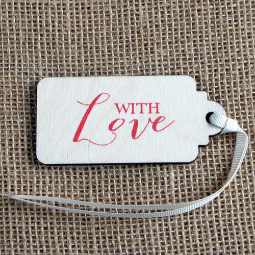 Wooden Printed Gift Tag - With Love