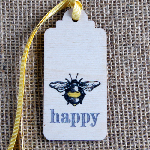 Wooden Printed Gift Tag - Bee Happy