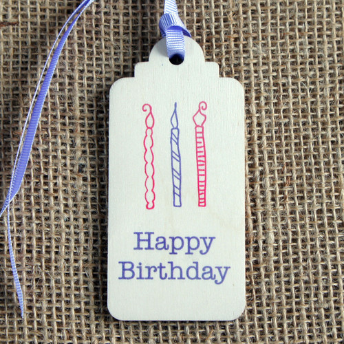 Wooden Printed Gift Tag - Happy Birthday