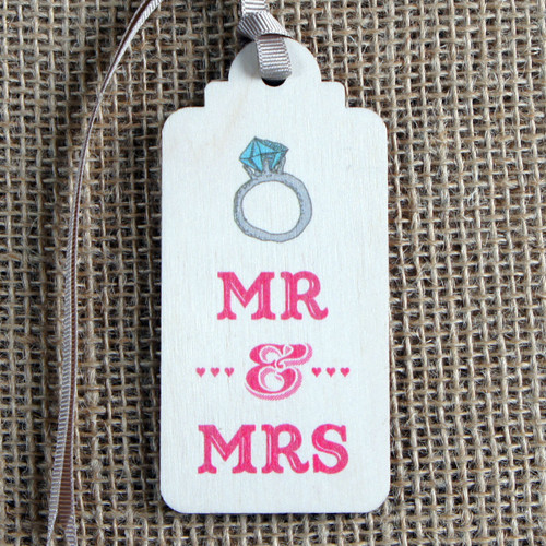Wooden Printed Gift Tag - ideal for a special wedding gift