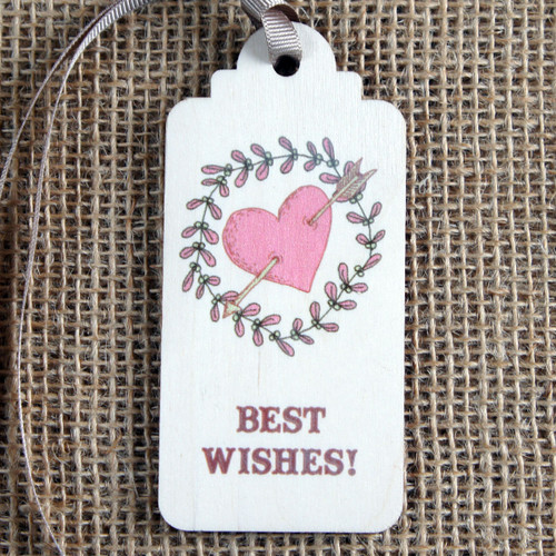 Wooden Printed Gift Tag - best wishes