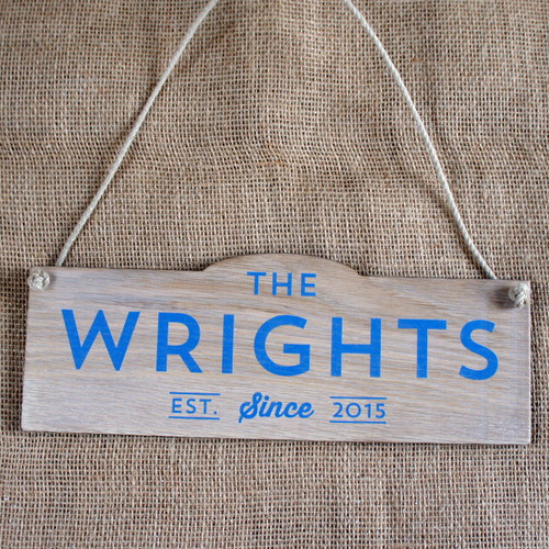 Solid Oak Printed Wedding Sign - Established Since