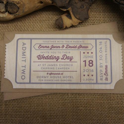 Printed Wooden Wedding Ticket Invitation Admit Two