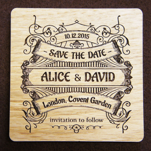 Wooden Save the Date Vintage Banner Coaster