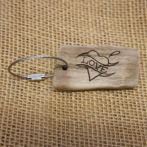 Engraved Driftwood Gift Keyrings - Tattoo Love
