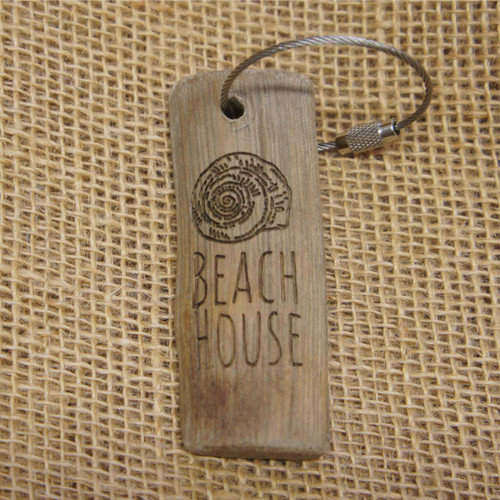 Engraved Driftwood Keyring - Beach House