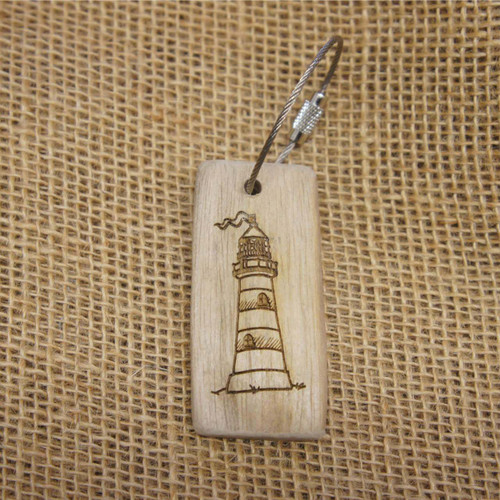 Engraved Driftwood Keyring - Lighthouse