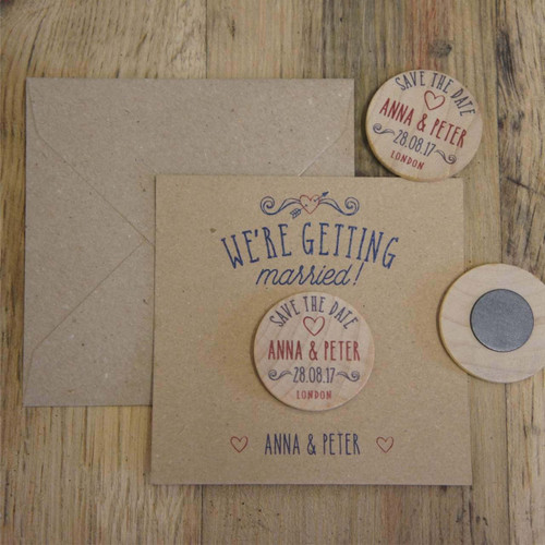 "Wooden ""Save the Date"" Magnet with optional backing cards & envelopes"
