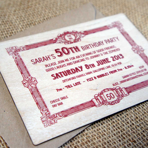 Printed Wooden Birthday Invitation - ideal for special birthdays
