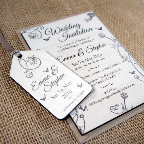 """Printed Wooden Wedding Invitation with matching """"Save the Date"""" Printed Wooden Tag"""