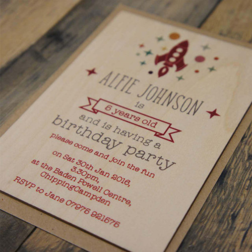 Wooden Boys or Girls Birthday Invites - With a retro space rocket & stars theme