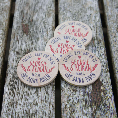 Wooden Wedding Printed Drinks Tokens - Woodland