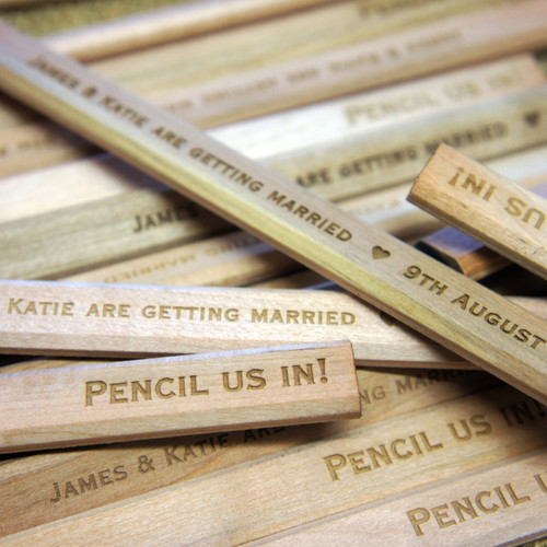 Wooden Save the Date Carpenters Pencils