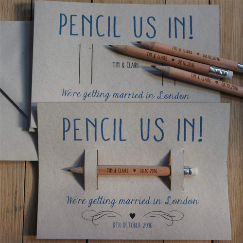 Pencil Us In - Save the Date Pencil with backing card & envelope