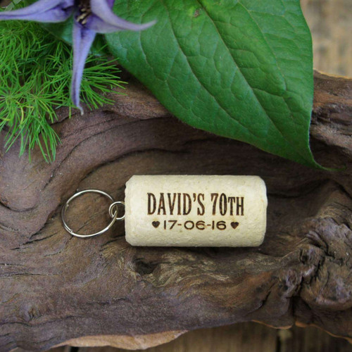 Personalised Cork Birthday Favour with Keyring attached