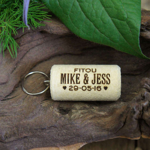 Personalised Cork Wedding Favour with Keyring attached