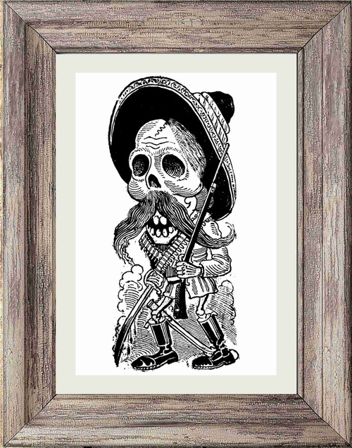 Day of the Dead Poster Print - Hat and Mustache Man